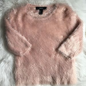 Fuzzy Pink Cropped Sweater
